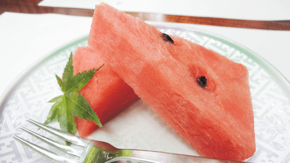 Watermelon for dessert.