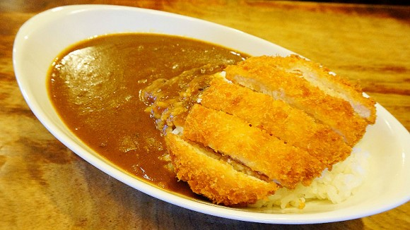 Curry with rice and pork cutlet