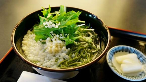 Matcha buckwheat noodles