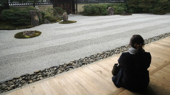 Sit by the zen garden
