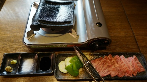 Grilled omi-beef on the hot Japanese tile