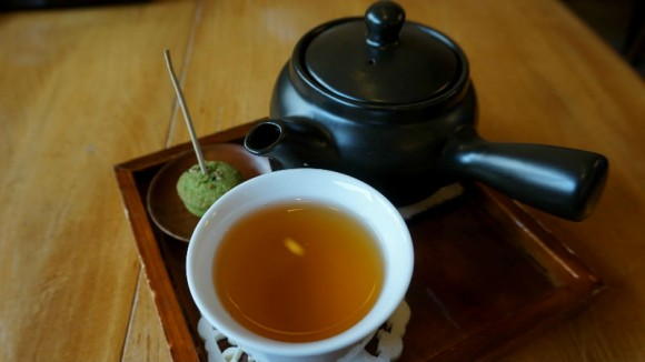 Okara tea served in a tea pot