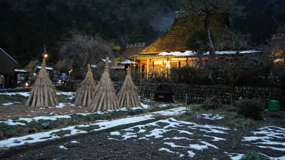 Snow lanterns festival at Miyama Kayabuki no sato