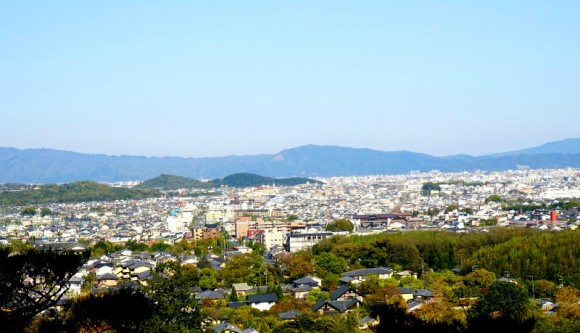 Looking over the city of Kyoto from the top of the site!