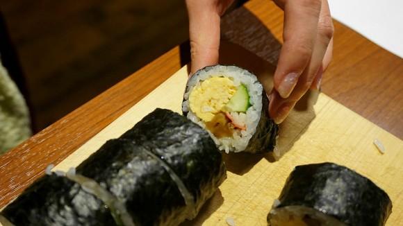 Finished product: sushi rolls
