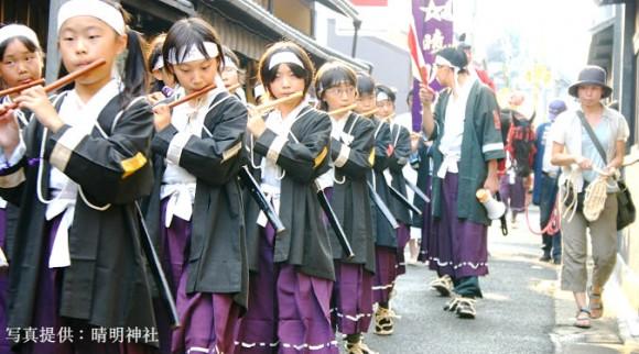 Parade of boy's flutists