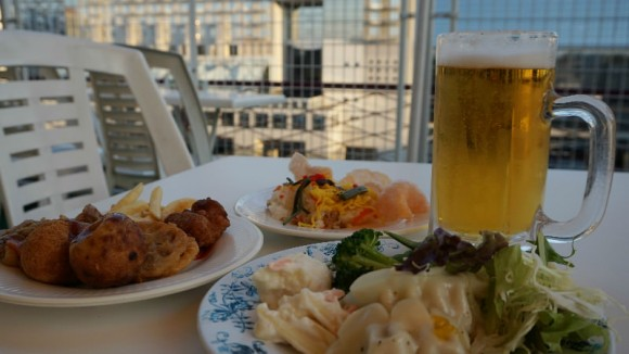 Kyoto tower roof top beer garden